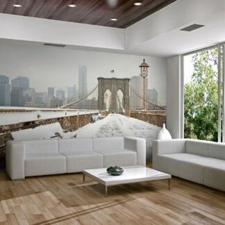 ARTGEIST Fototapet - Snedækkede bro i New York (flere størrelse) 200x154