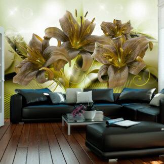 ARTGEIST fototapet - Ecstatic Green, smukke elastiske blomster (flere størrelser) 100x70