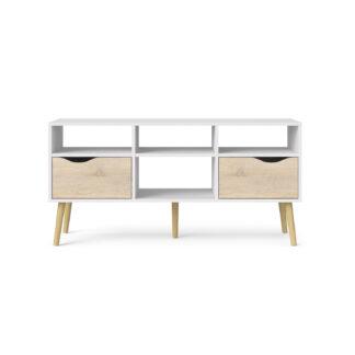Delta TV-bord - hvid/egestruktur, m. 2 skuffer og 4 rum