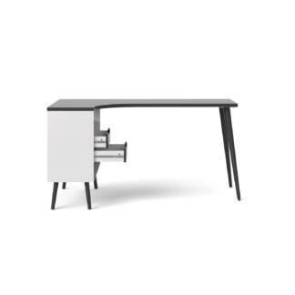 Delta skrivebord - sort/hvid træ m. 2 skuffer