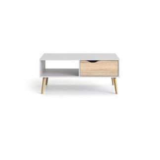 Delta sofabord - hvid/eg træ, m. 1 skuffe