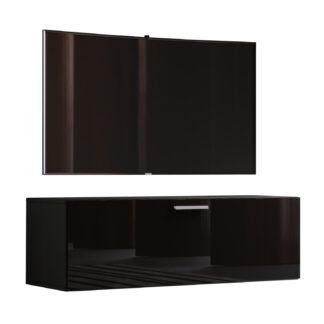 Fernso højglans 115 TV-vægskab, m. 1 låge - sort træ