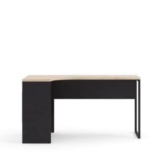 Function Plus hjørneskrivebord - mat sort/egetræsstruktur, m. 2 skuffer