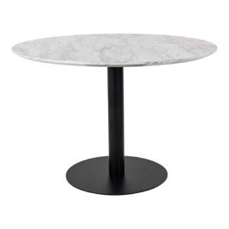 HOUSE NORDIC Bolzano spisebord - MDF med marmor look og sort stål (Ø110)
