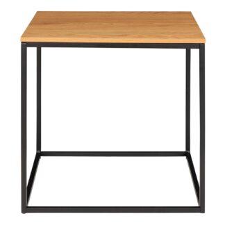 HOUSE NORDIC Vita hjørnebord - natur melamin og sort stål (45x45)