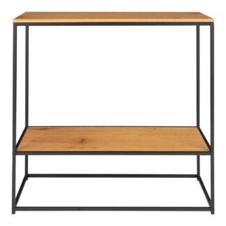 HOUSE NORDIC Vita konsolbord, m. hylde - natur melamin og sort stål (80x36)