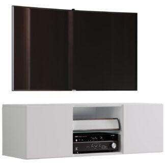 Jusa 115 TV-vægskab, m. 2 låger og 1 hylde - glas og hvid træ