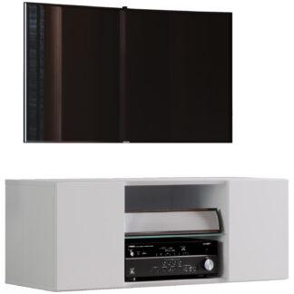 Jusa 95 TV-vægskab, m. 2 låger og 1 hylde - glas og hvid træ