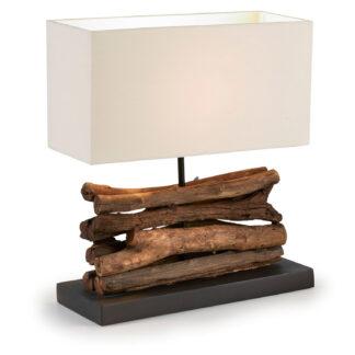 LAFORMA Iahas bordlampe - tropisk genbrugstræ og hvid stofskærm (35x15)