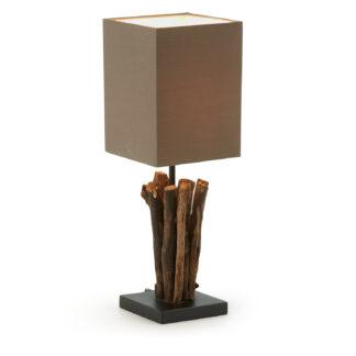 LAFORMA Seratna bordlampe - tropisk genbrugstræ og brun stofskærm (15x15)