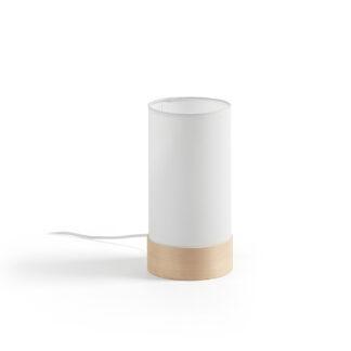 LAFORMA Stas bordlampe - hvidt stof og natur træ (Ø 13)