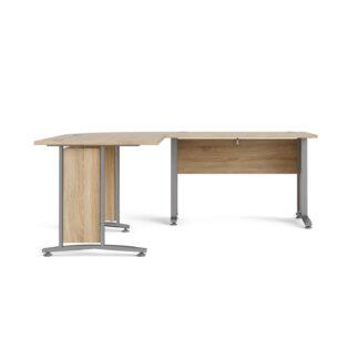 Prima hjørneskrivebord - egestruktur m. stålstel, m. 4 skuffer