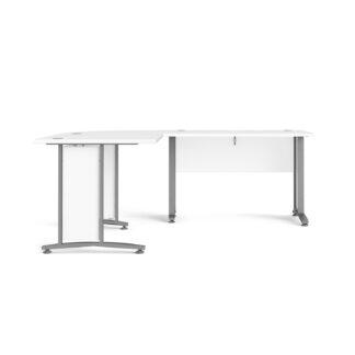 Prima hjørneskrivebord - hvid træ m. stålstel