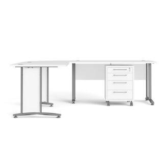 Prima hjørneskrivebord - hvid træ m. stålstel, m. 4 skuffer