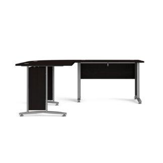 Prima hjørneskrivebord - sort ask m. stålstel