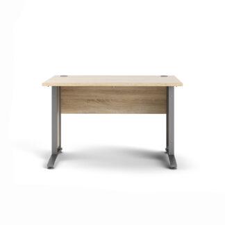 Prima skrivebord - egetræsstruktur/sølvgrå stål