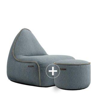 SACKit Sækkestol + Puf - Medley Loungesæt - Dusty Blue
