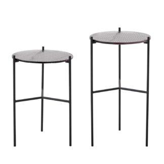 BLOOMINGVILLE Cille sidebord - grå glas og jern (sæt af 2)