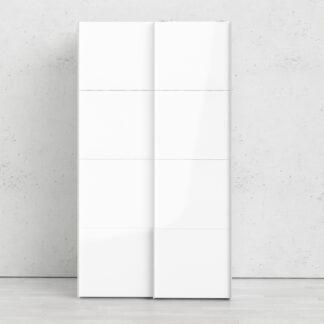 Firenze garderobeskab- Hvidt MDF, smal, 2 skydelåger