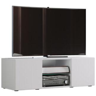 Lowina 115 TV-bord, m. 2 låger og 1 hylde - glas og hvid træ