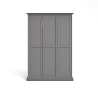 Paris garderobeskab - grå, m. 3 låger