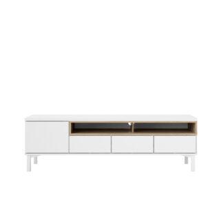 Roomers TV-bord - hvid/egetræstruktur, m. 1 låge og 3 skuffer (156 cm)