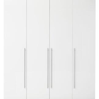 Save garderobeskab - hvidt træ, m. 4 låger i hvid højglans