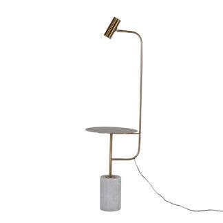 VENTURE DESIGN Vega sidebord m. lampe - hvidt marmor og messingfarvet metal (Ø 40)