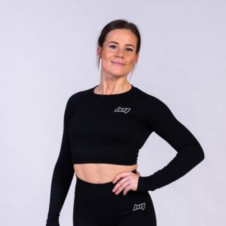 BM Seamless Ribbed Long Sleeve Cropped Top Black