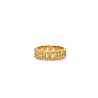 Frederik IX Crunchy Curb ring forgyldt - DMN0309GDHA Forgyldt 56