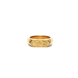 Frederik IX Mini brushed hexagon ring - DMN0307GD Forgyldt 54
