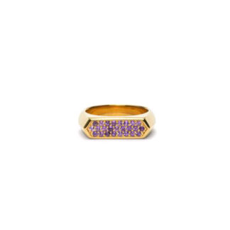 Frederik IX Mini hexagon purple ring - DMN0308GDPU Forgyldt 54