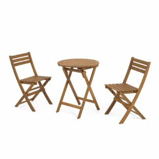 LAFORMA Elisia set of garden table and two folding chairs in solid acacia