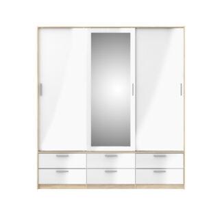 Line garderobeskab - egetræsstruktur/hvid højglans/spejlglas, m. 3 skydelåger og 6 skuffer