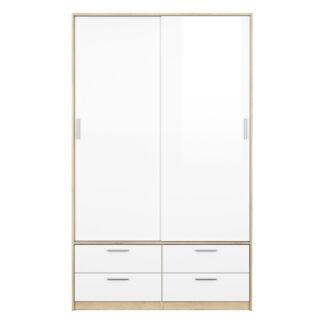 Line garderobeskab - hvid højglans/eg træ, m. 2 låger og 4 skuffer