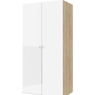 Save garderobeskab - egetræsstruktur/hvid højglans og spejlglas, m. 2 låger og 2 hylder
