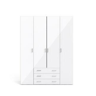 Space garderobeskab - hvid/hvid højglans, m. 4 låger og 3 skuffer