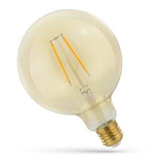 2W LED globepære - Kultråd, rav farvet glas, ekstra varm, E27 - Dæmpbar : Ikke dæmpbar, Kulør : Ekstra varm