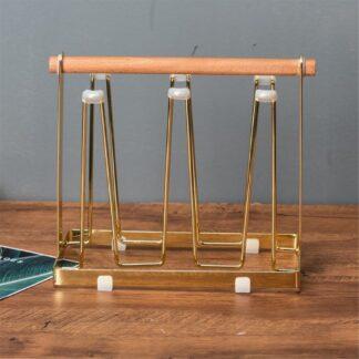 Holder til glas / krus - Plads til 6 - Trendy organizer til dine glas - Guld