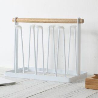 Holder til glas / krus - Plads til 6 - Trendy organizer til dine glas - Hvid