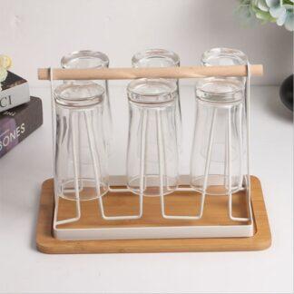 Holder til glas / krus - Plads til 6 - Trendy organizer til dine glas - Hvid/Bøg