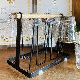 Holder til glas / krus - Plads til 6 - Trendy organizer til dine glas - Sort