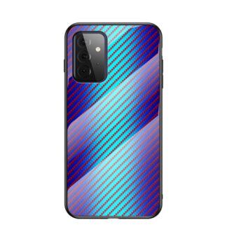 Samsung Galaxy A72 - Hybrid cover med bagside af hærdet glas - Blå