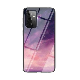 Samsung Galaxy A72 - Hybrid cover med bagside af hærdet glas - Lilla himmel