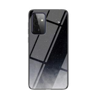 Samsung Galaxy A72 - Hybrid cover med bagside af hærdet glas - Sort himmel