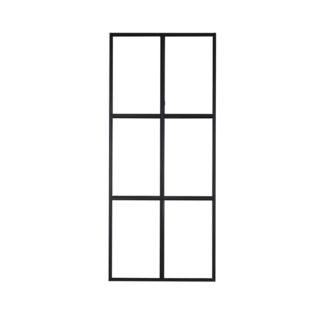 VENTURE DESIGN Leif rumdeler - glas og sort metal (90x210)
