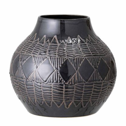 BLOOMINGVILLE Cornelius vase, rund - sort stentøj (Ø 30,5)