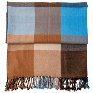 Håndvævet ternet plaid i cashmere og uld