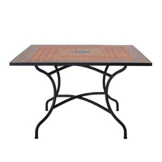 CREATIVE COLLECTION Hellen spisebord, kvadratisk - rød sten/keramik og sort jern (110x110)