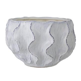 CREATIVE COLLECTION Liren urtepotteskjuler - hvid stentøj